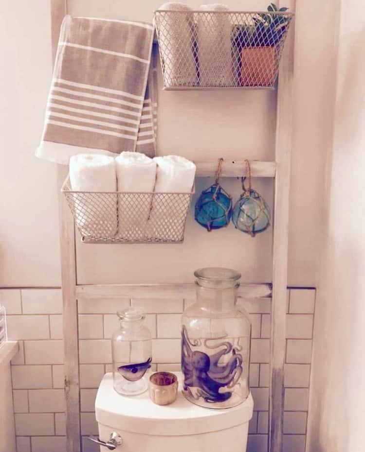farmhouse ladder shelf ideas