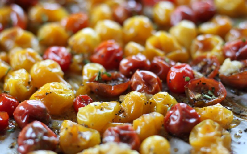 Roasted Garlic Heirloom Baby Tomatoes
