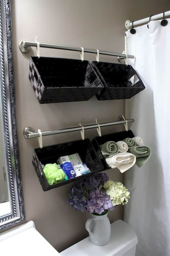 curtain rod shelving hacks