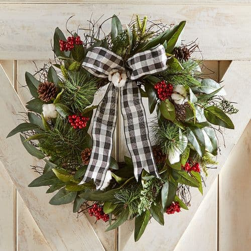 black white buffalo check wreath