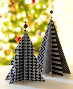 Christmas paper crafts black white trees