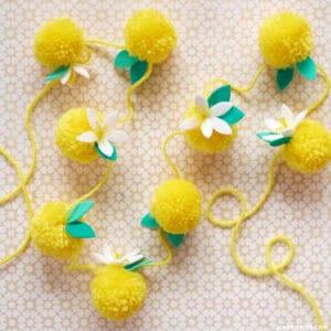 lemon pom pom garland