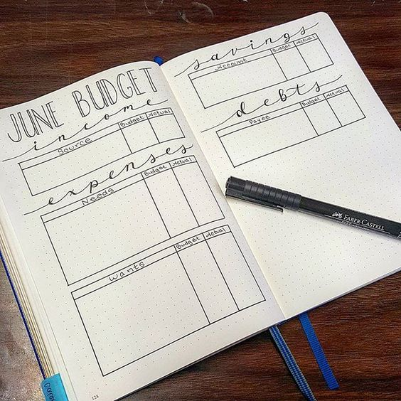 bullet journal monthly budget