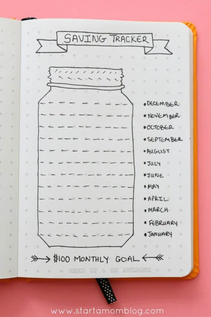 bullet journal savings goals