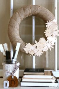 wood veneer burlap floral wreath
