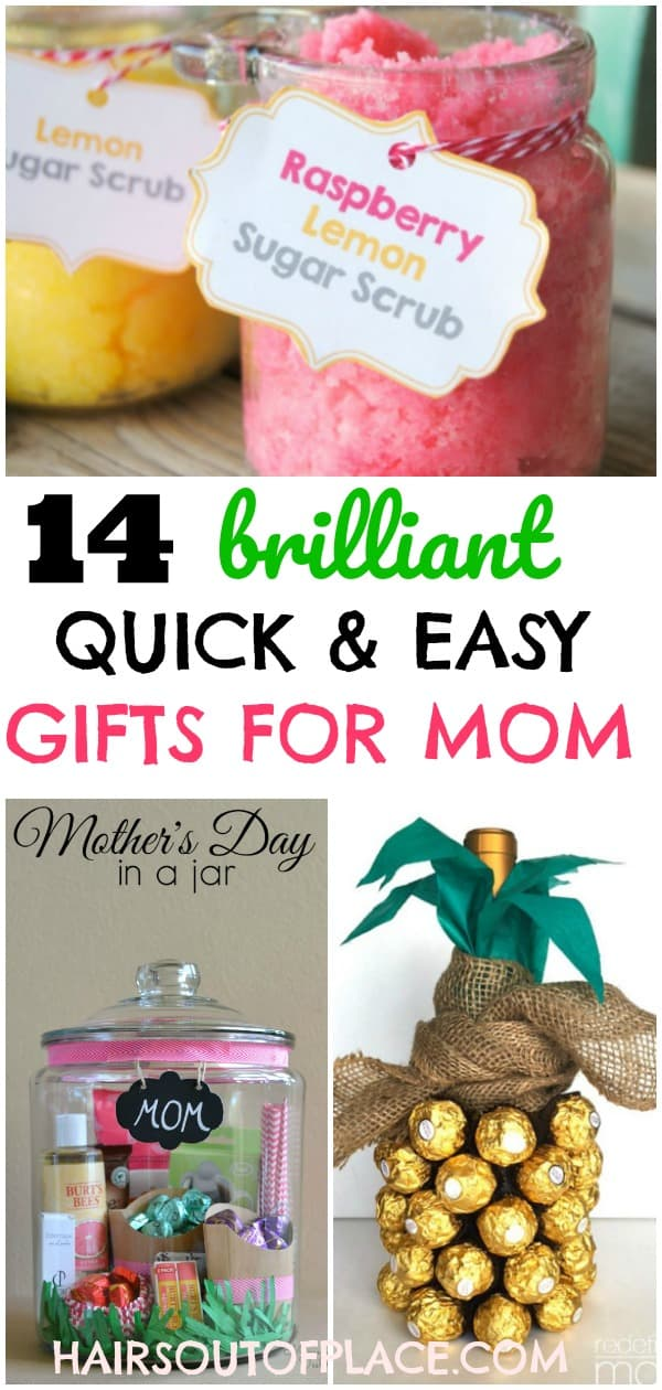12 easy DIY gifts for mom when you're out of time and money! These are brilliant gift ideas for her when she already has everything! Whether you need a gift for Mother's Day, a birthday gift for mom, or even something sweet for a galpal or favorite teacher, these quick and easy gifts for her will be the perfect solution! #mothersday #giftsforher #giftsformom #diygifts #diygraduationgifts #teacherappreciation