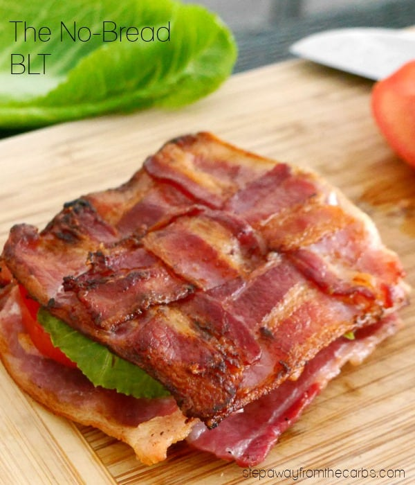 no bread blt with cooked bacon as the bread