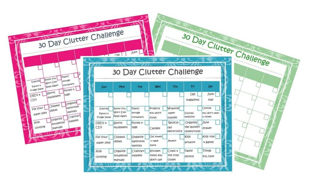 30 day clutter challenge printable