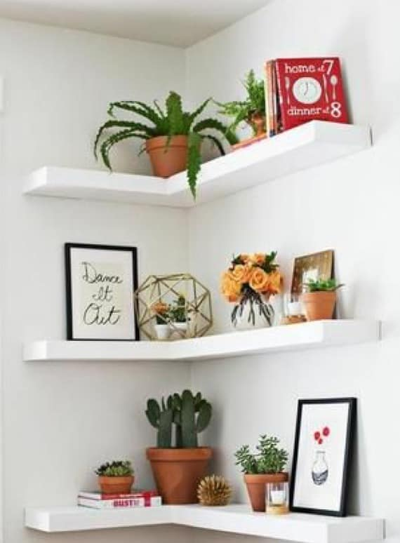 Bedroom corner shelf ideas