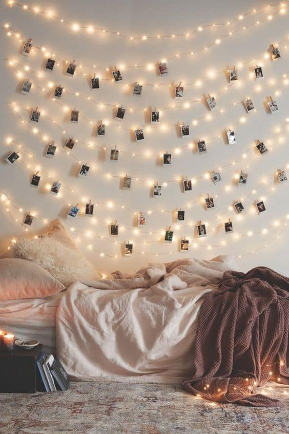 Photo wall ideas with lights