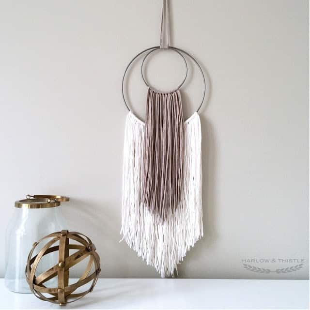 yarn wall hanging with hoops