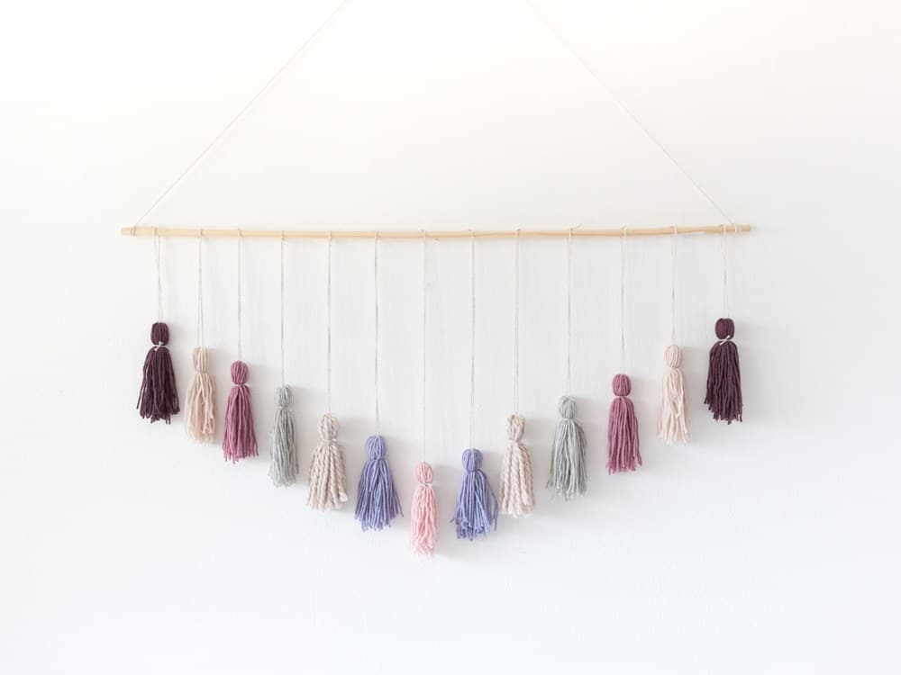 yarn wall hanging with tassels