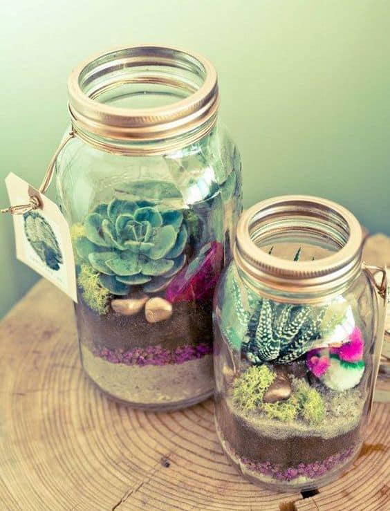 succulent mason jar