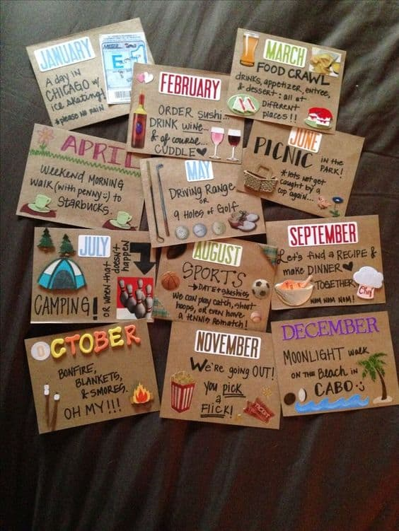 12 months of dates is a cute diy gifts for boyfriend