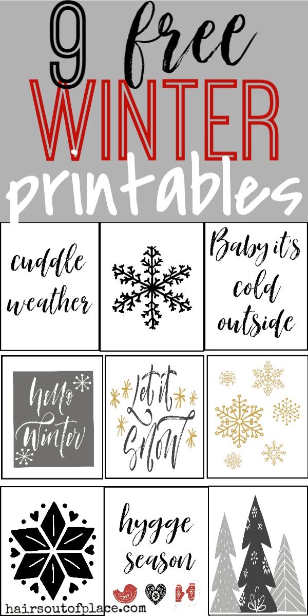 9 free chritmas and winter printables that make easy wall art