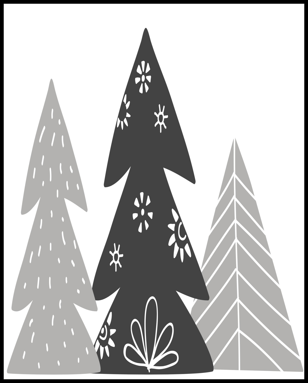 hygge winter trees printable