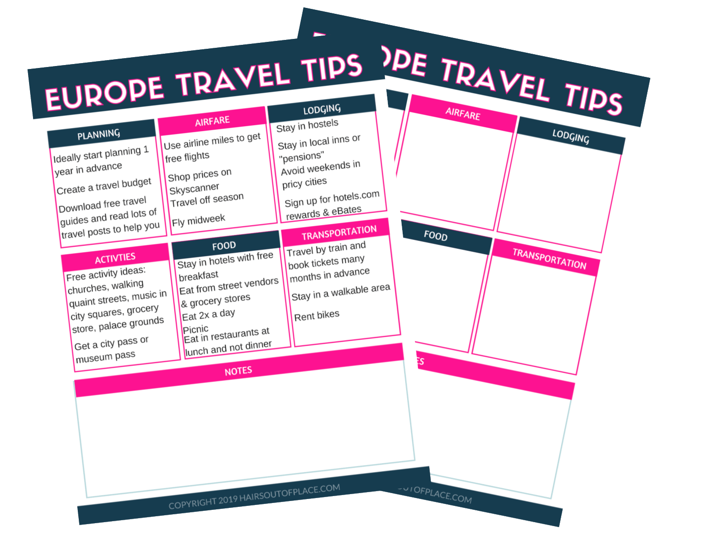 budget travel printables