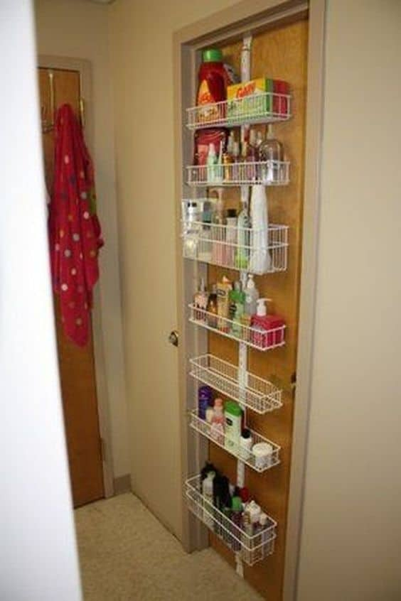 use the back of your door for college dorm organization