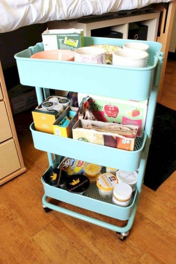 utility carts make the best dorm organizers