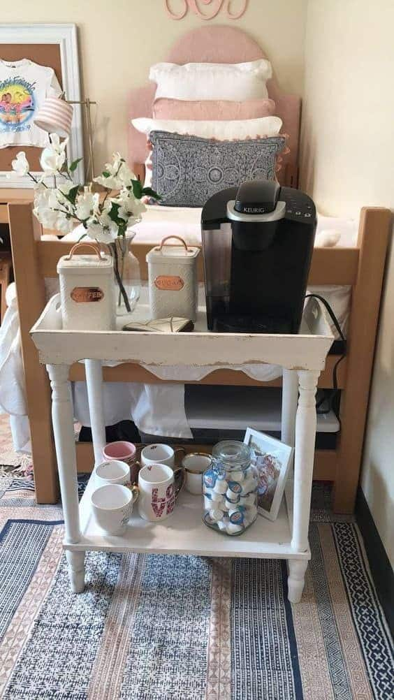 create a coffee bar with this diy college dorm organization solution