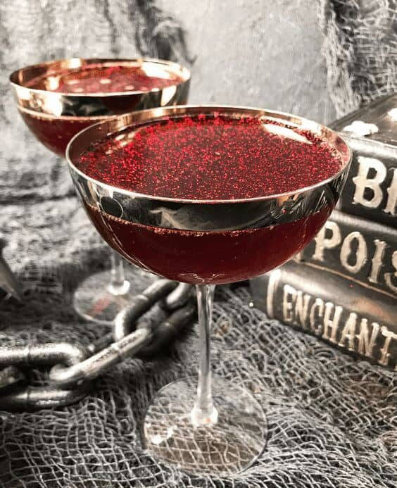 red halloween rum cocktail