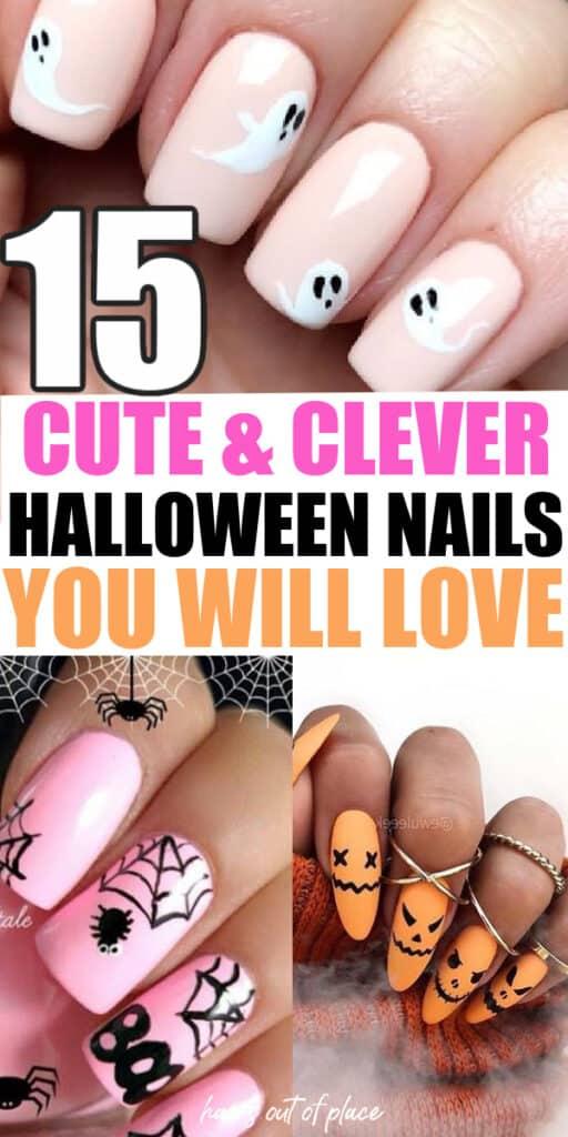 Pinterest pin of halloween nail art ideas