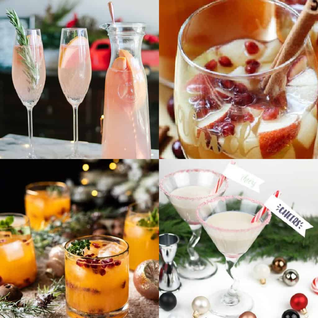 best holiday cocktail recipes collage of drink ideas