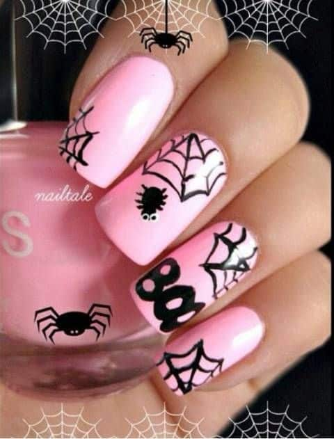 cute halloween nails in pink