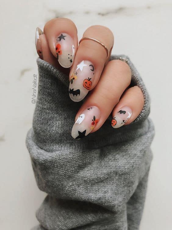 Cute clear halloween design nails