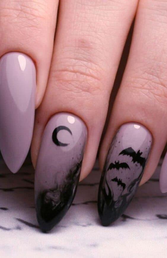 Purple halloween night spooky nails