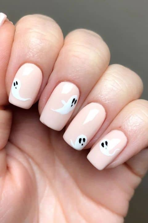 Pink ghost nails