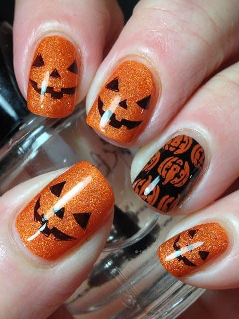 Cute pumpkin face nails