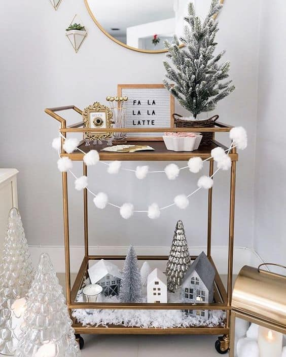 holiday bar cart for small spaces