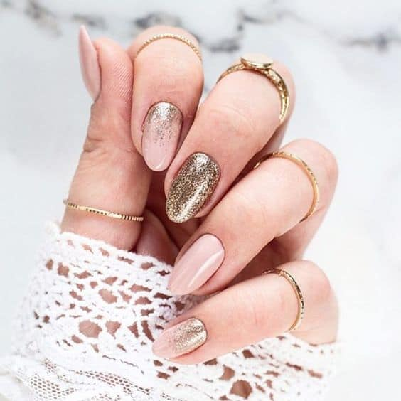 best ideas holiday nails festive pink and gold