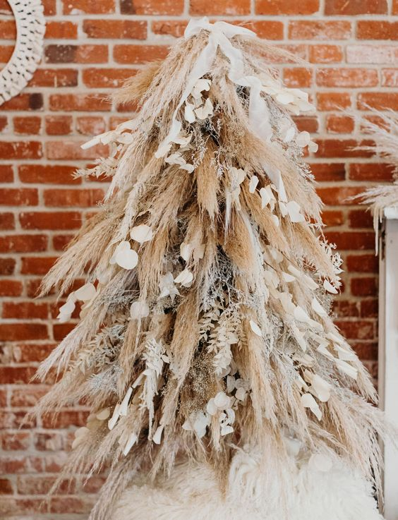 boho decor for christmas straw tree