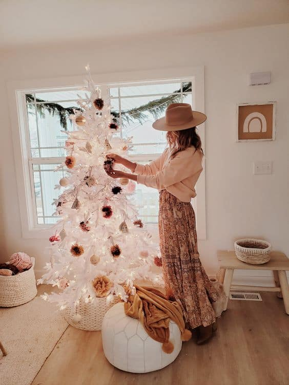 cool boho christmas ideas white tree