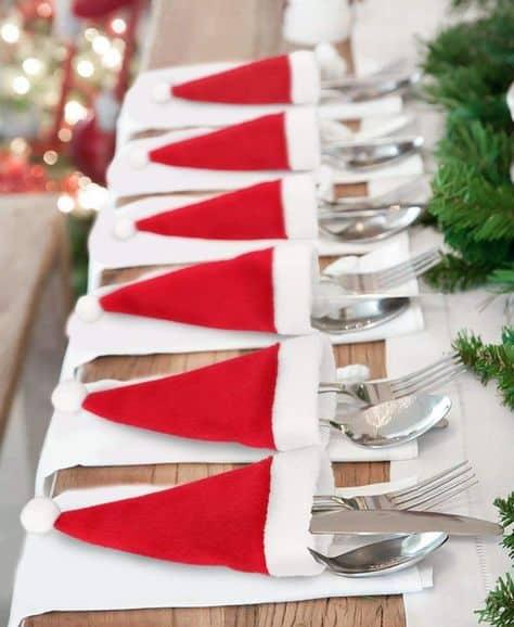 cute christmas ideas small apartments santa hat silverware