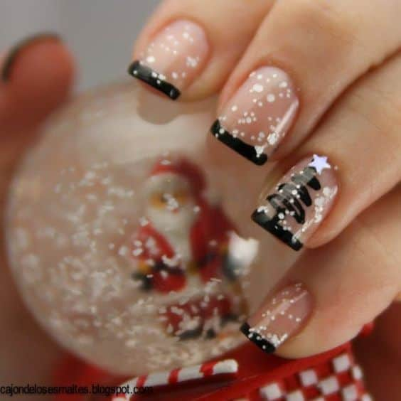 cute looks holiday nails black tip christmas tree