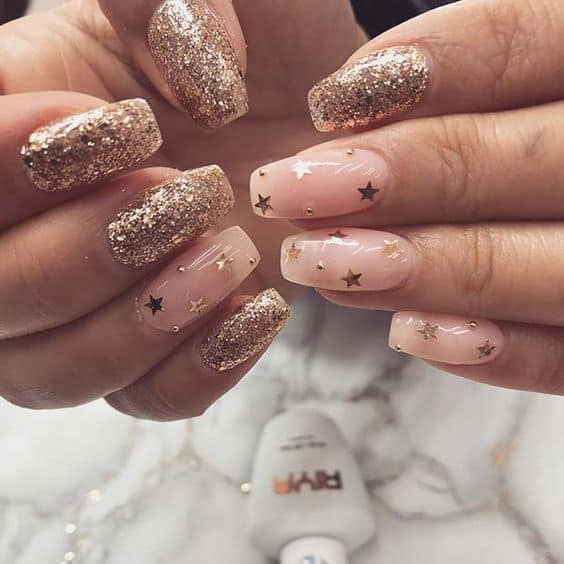 cute nails holiday trendy gold stars and sparkles