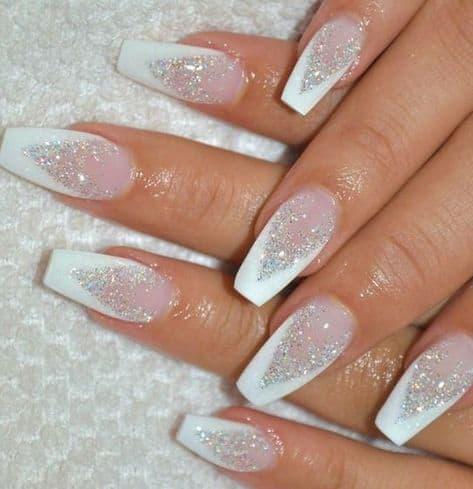 holidays ideas for nails white festive sparkle