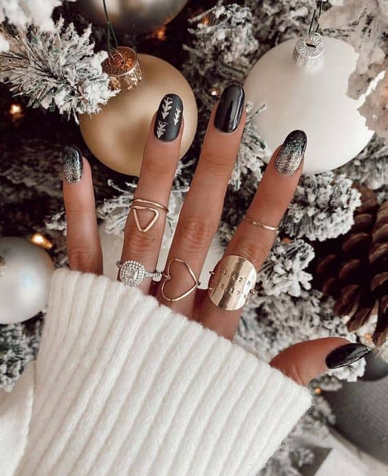 nail ideas for girls gray and silver shimmer