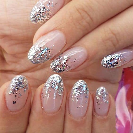 pretty nails for the holidays pink nails silver sparkle tips