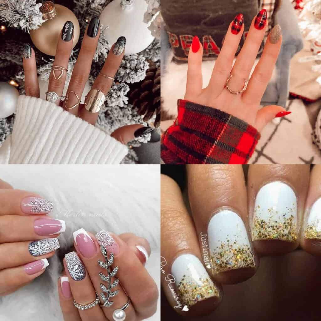 simple Christmas nails collage of nail designs