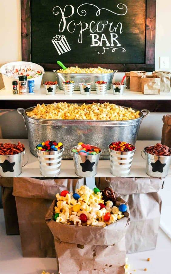cute ideas for a food bar popcorn party