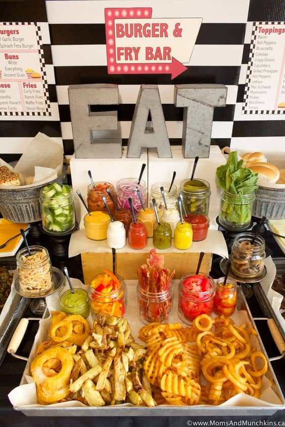 food bar party ideas burger and fries bar