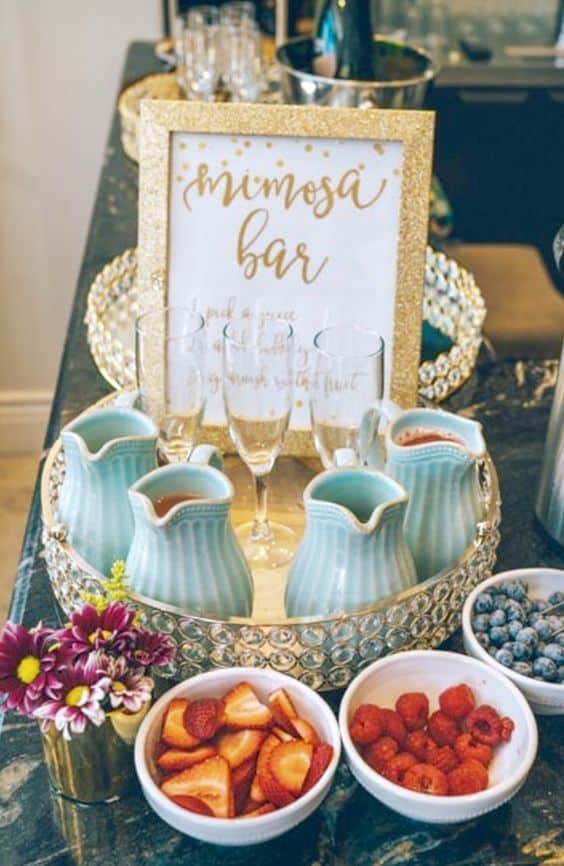 ideas for a cute food bar mimosa bar
