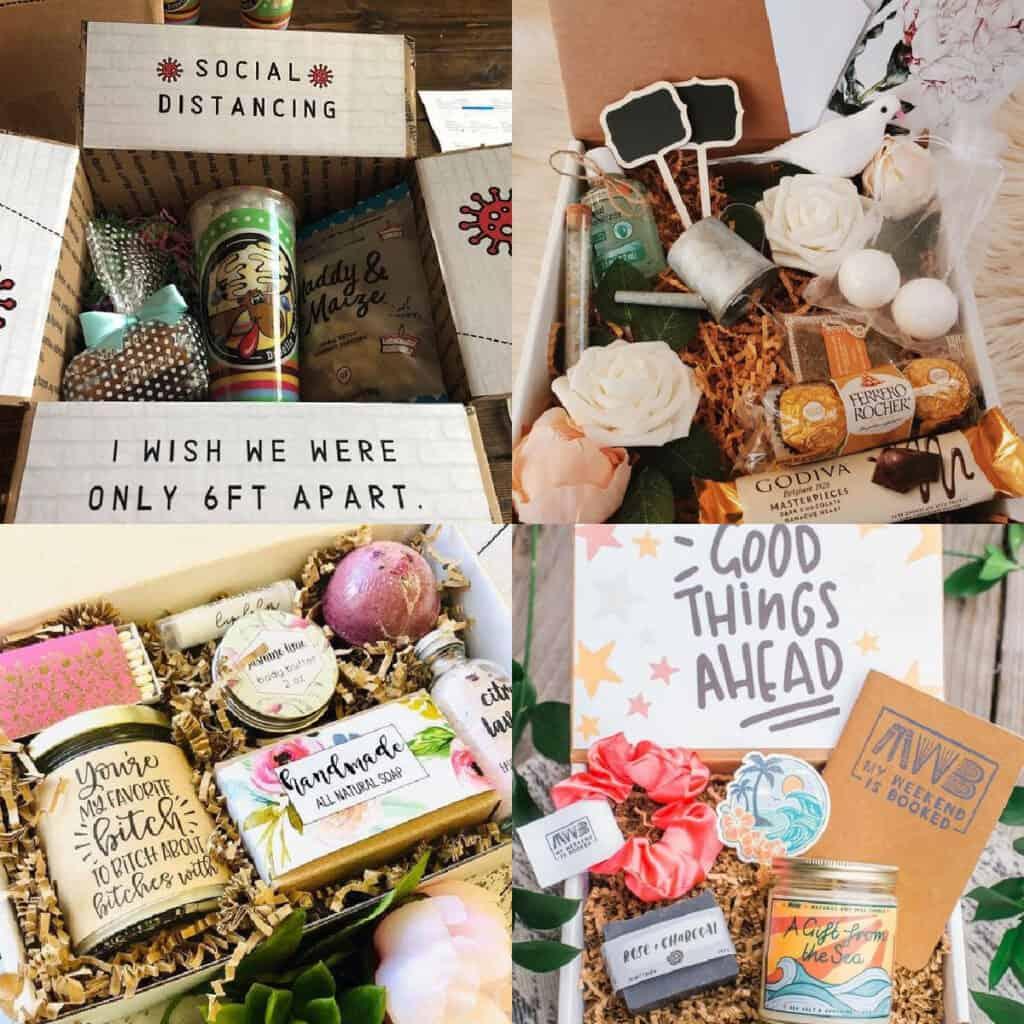 paquete de cuidado para mejores amigos collage de ideas