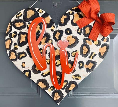 galentines day gift ideas cool cheetah door hanger heart