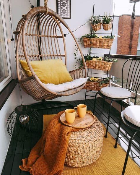 best decor ideas for balcony hanging corner chair