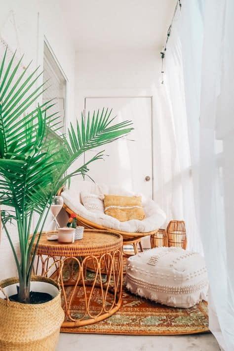 cute balcony decor ideas to try papasan and plants